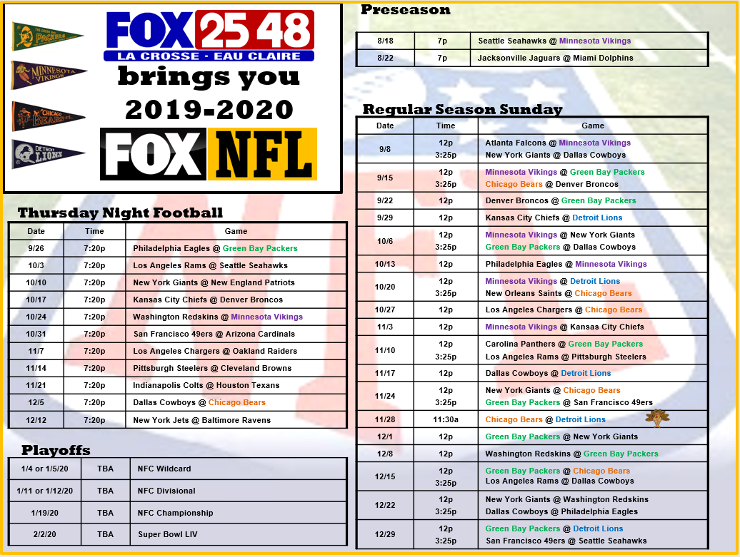 It is a graphic of Invaluable Printable Football Schedule